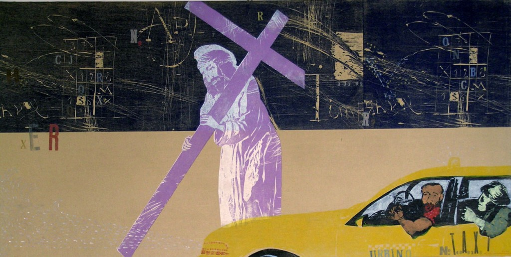 """Taxi in Urbino"" 2012, canvas, coloured woodcut, wooden stamps, letter press, 107 x 214 cm"
