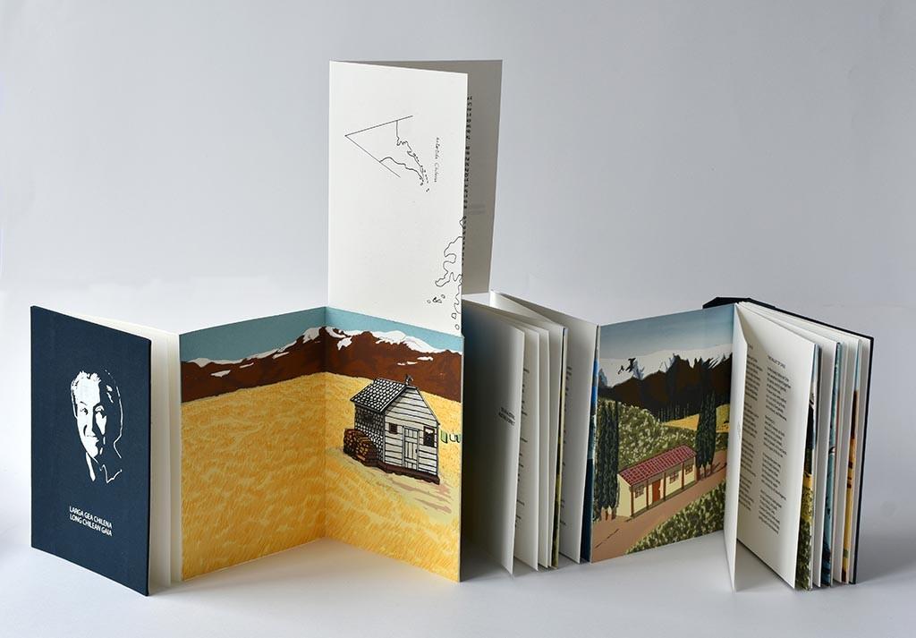 "Magdalena Cordero Echeverria ""Long Chilean Gaia"". 2016, edition 6/6, Crane's Crest text paper, screenprinting, polymer plates, letterpress, 20,5 x 15,9 x 2,7 cm"