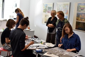 Artist's book workshop for students. In the centre Jurgita and Roberta